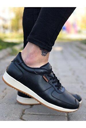OtikButik Er0002 Bağcıklı Sneakers Siyah Beyaz Taban Erkek Casual Spor Ayakkabı