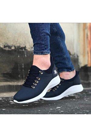 OtikButik Er0601 Bağcıklı Rahat Yüksek Taban Lacivert Beyaz Casual Erkek Spor Ayakkabı