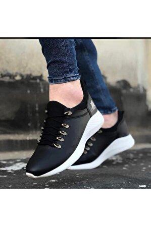 OtikButik Er0601 Bağcıklı Rahat Yüksek Taban Siyah Beyaz Casual Erkek Spor Ayakkabı