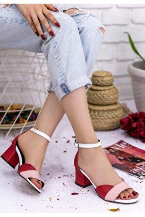 Erbilden Kaina Kırmızı Cilt Renkli Topuklu Ayakkabı