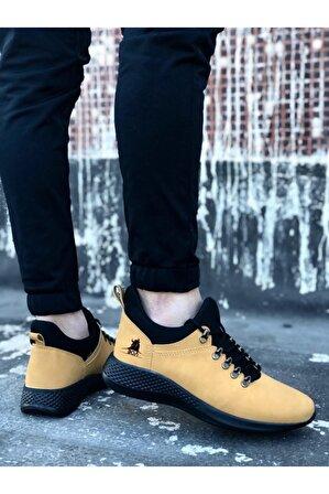 OtikButik Er0601 Bağcıklı Rahat Kalın Taban Camel Sarı Siyah Erkek Spor Ayakkabı