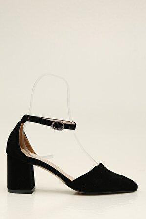 S1441 Siyah-Siyah Kadın Klasik Topuklu Ayakkabı