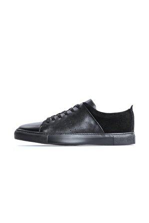 Flower Hakiki Deri Siyah Süet Kombin Bağcıklı Erkek Sneakers
