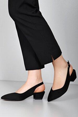 G.Ö.N Siyah Süet Kadın Klasik Topuklu Ayakkabı