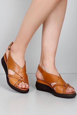 G.Ö.N Gön Hakiki Deri Kadın Sandalet 45322
