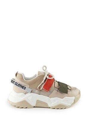 LuviShoes 65140 Bej Cilt Kadın Spor Ayakkabı