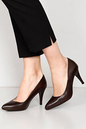 G.Ö.N Hakiki Deri Kahve Kadın Klasik Topuklu Ayakkabı 22354