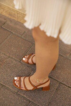 STRASWANS Kadın Taba Gina Deri Topuklu Sandalet