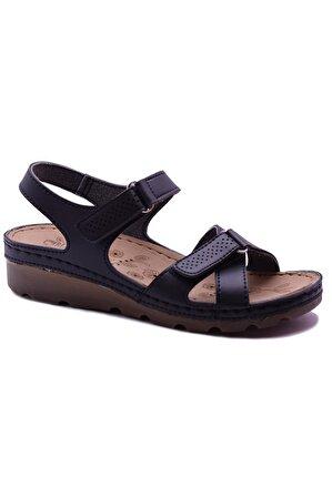 CARLA VERDE Kadın Siyah Anatomik Rahat Sandalet 160107
