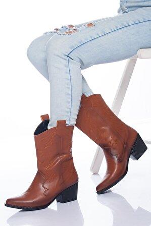 Ayakkabı Frekansı Kadın Taba Steven Çizme Cilt