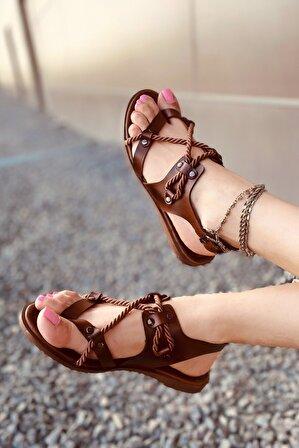 LAMİNTA Kadın Kahverengi Nesa Halat Sandalet