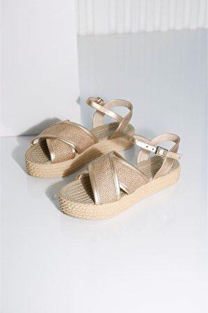 POLO PRESTIGE Kadın Gold Hasır Sandalet