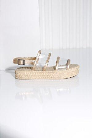 POLO PRESTIGE Kadın Gold – Hasır Croce-a Sandalet