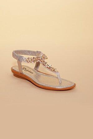 Doruk Shoes Yıldızlı Altın Rengi Sandalet