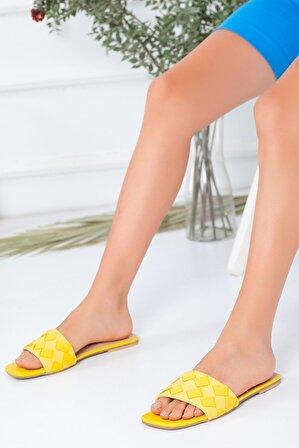 Favi Kadın Baklava Desenli Sarı Terlik
