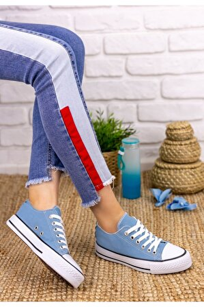 Ralina Ayakkabı Kadın Mavi Moxi Keten Spor Ayakkabı