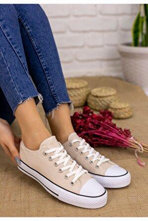 Ralina Ayakkabı Kadın Krem Moxi Keten Spor Ayakkabı