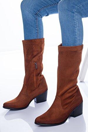 Ayakkabı Frekansı Opsi Kadın Taba Süet Streç Çizme