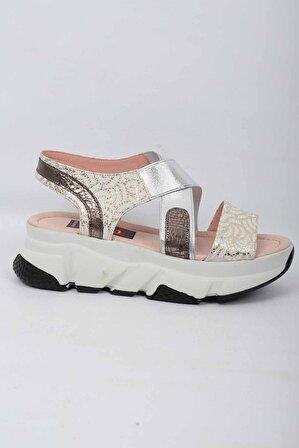 CHELSY Kadın Altın Hakiki Deri Sandalet