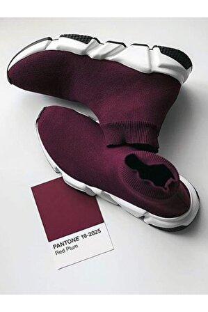 SHOELAND Kırmızı Çoraplı Yüksek Taban Erkek Sneakers Ayakkabı