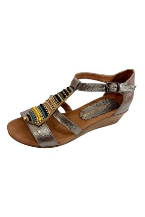 SMS Kadın Platin Trend Fashion Taşlı Sandalet 1516