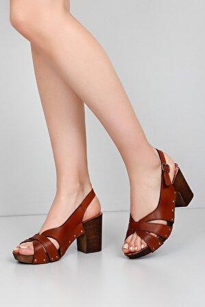 G.Ö.N Taba Kadın Topuklu Ayakkabı