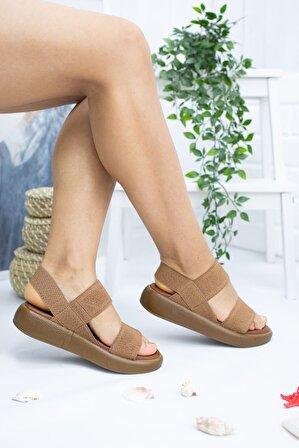 ŞEVVAL AYAKKABI Dante Taba Lastikli Kadın Sandalet