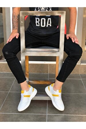 BOA Ba0139 Içi Dışı Hakiki Deri Beyaz Sarı Sneakers Erkek Ayakkabı