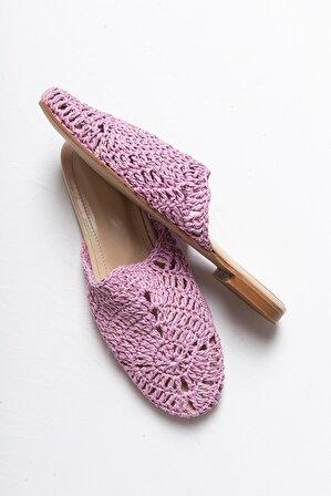 LuviShoes Kadın Lila Hasır Düz Topuklu Terlik T1