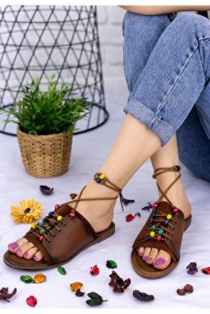 Erbilden Kadın Taba Cilt Boncuklu Sandalet