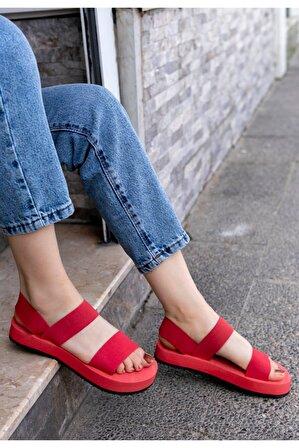Erbilden Kadın Kırmızı Macle Sandalet