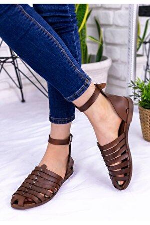 Erbilden Kadın Taba Kemerli Sandalet