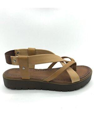 Be Style Kadın Taba Hakiki Deri Sandalet