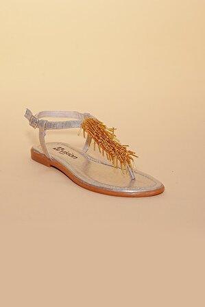 Doruk Shoes Kadın Altın Püsküllü Parmak Arası Sandalet