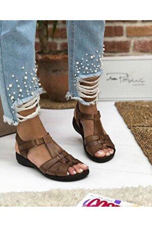 Pabuç Kadın Taba Orto Düz Sandalet