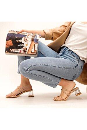 Stil Durağı Kadın Bej Lavinya Model Şeffaf Topuk Tek Bant Terlik