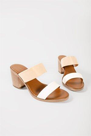 Shoes & More Kadın Bej Hakiki Deri Topuklu Terlik