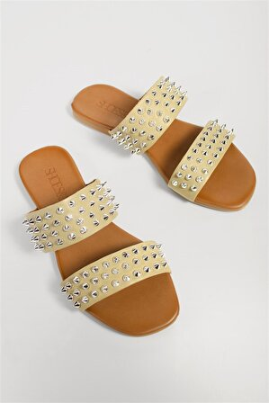 Shoes & More Kadın Bej Hakiki Deri Terlik