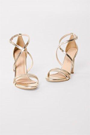 Shoes & More Mermaıd – Gold – Yüksek Blok Topuklu Sandalet