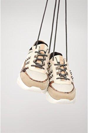 Shoes & More Kadın Bej Yılan Multi Spor Ayakkabı