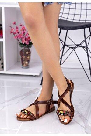 Ralina Ayakkabı Bette Taba Boncuklu Sandalet