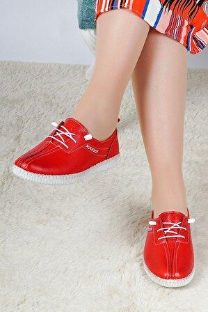 Hoba Tekstil Kadın Kırmızı Günlük Babet Ayakkabı