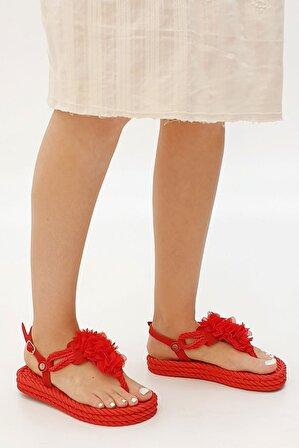 Marjin Kadın Kırmızı Düz Sandalet