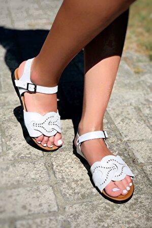 TRENDBU AYAKKABI Kadın Beyaz Sandalet