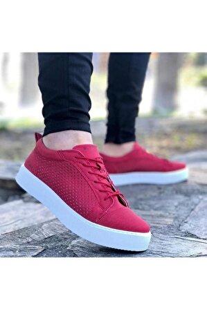 BOA Erkek Kırmızı Bağcıklı Yazlık Sneaker Ba0108