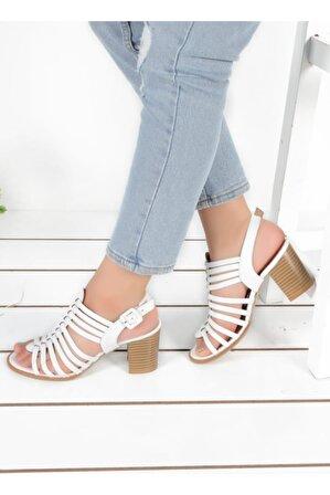 Byn Ayışığı Beyaz Ortopedik Kadın Sandalet