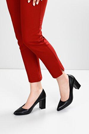 G.Ö.N Kadın Hakiki Deri Topuklu Ayakkabı