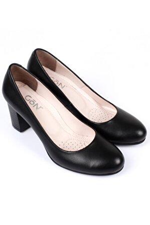 G.Ö.N Gön Hakiki Deri Kadın Topuklu Ayakkabı 77203