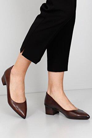 G.Ö.N Kadın Kahverengi Gön Hakiki Deri Topuklu Ayakkabı