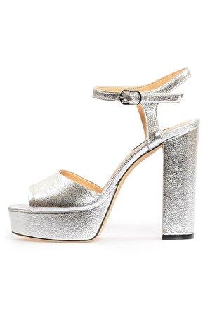 Flower Kadın Metalik Deri Platformlu Sandalet